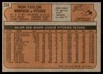 1972 Topps #234  Ron Taylor  Back Thumbnail