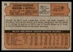 1972 Topps #65  Cesar Cedeno  Back Thumbnail