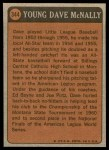 1972 Topps #344   -  Dave McNally Boyhood Photo Back Thumbnail