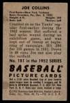 1952 Bowman #181  Joe Collins  Back Thumbnail