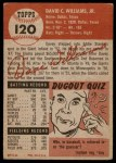 1953 Topps #120  Davey Williams  Back Thumbnail
