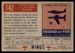 1952 Topps Wings #142   XF-92A Vultee Back Thumbnail