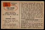 1954 Bowman #72  Tom Keane  Back Thumbnail