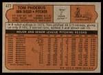 1972 Topps #477  Tom Phoebus  Back Thumbnail