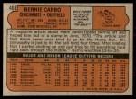 1972 Topps #463  Bernie Carbo  Back Thumbnail