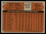 1972 Topps #395  Matty Alou  Back Thumbnail