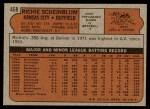 1972 Topps #468  Richie Scheinblum  Back Thumbnail