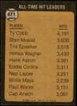 1973 Topps #471   -  Ty Cobb All-Time Hit Leader Back Thumbnail