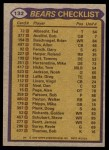 1979 Topps #132   Bears Leaders Checklist Back Thumbnail