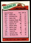 1977 Topps #208   Broncos Team Checklist Front Thumbnail