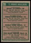 1975 Topps #617   -  Doug DeCinces / Manny Trillo / Mike Cubbage / Reggie Sanders Rookie Infielders   Back Thumbnail
