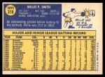 1970 Topps #318  Willie Smith  Back Thumbnail