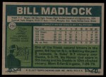 1977 Topps #250  Bill Madlock  Back Thumbnail