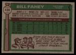 1976 Topps #436  Bill Fahey  Back Thumbnail