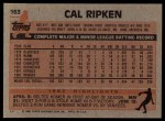 1983 Topps #163  Cal Ripken Jr.  Back Thumbnail