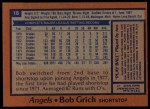 1978 Topps #18  Bobby Grich  Back Thumbnail