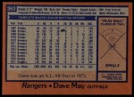 1978 Topps #362  Dave May  Back Thumbnail