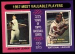 1975 Topps #195   -  Mickey Mantle / Hank Aaron 1957 MVPs Front Thumbnail