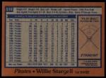 1978 Topps #510  Willie Stargell  Back Thumbnail