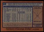 1978 Topps #591  George Zeber  Back Thumbnail