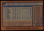 1978 Topps #127  Chet Lemon  Back Thumbnail
