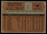 1972 Topps #527  Dave Leonhard  Back Thumbnail
