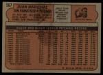 1972 Topps #567  Juan Marichal  Back Thumbnail