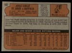 1972 Topps #107  Jose Cruz  Back Thumbnail