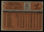 1972 Topps #320  Steve Blass  Back Thumbnail