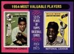 1975 Topps #192   -  Yogi Berra / Willie Mays 1954 MVPs Front Thumbnail