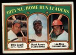 1972 Topps #89   -  Hank Aaron / Lee May / WIllie Stargell NL HR Leaders   Front Thumbnail