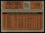 1972 Topps #456  Mark Belanger  Back Thumbnail