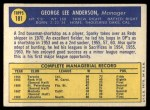 1970 Topps #181  Sparky Anderson  Back Thumbnail