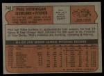 1972 Topps #748  Phil Hennigan  Back Thumbnail
