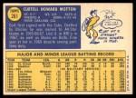 1970 Topps #261  Curt Motton  Back Thumbnail