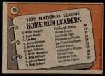 1972 Topps #89   -  Hank Aaron / Willie Stargell / Lee May NL HR Leaders   Back Thumbnail