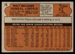 1972 Topps #15  Walt Williams  Back Thumbnail