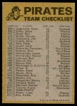 1974 Topps Red Checklist   Pirates Back Thumbnail