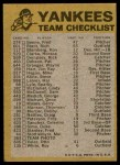 1974 Topps Red Checklist   Yankees Back Thumbnail