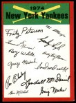 1974 Topps Red Checklist   Yankees Front Thumbnail