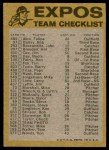 1974 Topps Red Checklist   Expos Back Thumbnail
