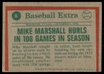 1975 Topps #6   -  Mike Marshall Marshall Hurls In 106 Games Back Thumbnail