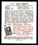 1948 Bowman REPRINT #33  Jack Smiley  Back Thumbnail