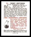 1948 Bowman REPRINT #16  Sid Hertzberg  Back Thumbnail