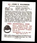 1948 Bowman REPRINT #63  John Mahnken  Back Thumbnail