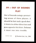 1948 Bowman REPRINT #59   Out of Bounds Play - Quick Screen Back Thumbnail
