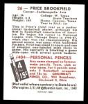 1948 Bowman REPRINT #26  Price Brookfield  Back Thumbnail