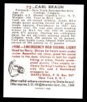 1948 Bowman REPRINT #72  Carl Braun  Back Thumbnail