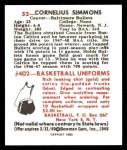 1948 Bowman REPRINT #52  Cornelius Simmons  Back Thumbnail
