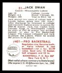 1948 Bowman REPRINT #51  Jack Dwan  Back Thumbnail